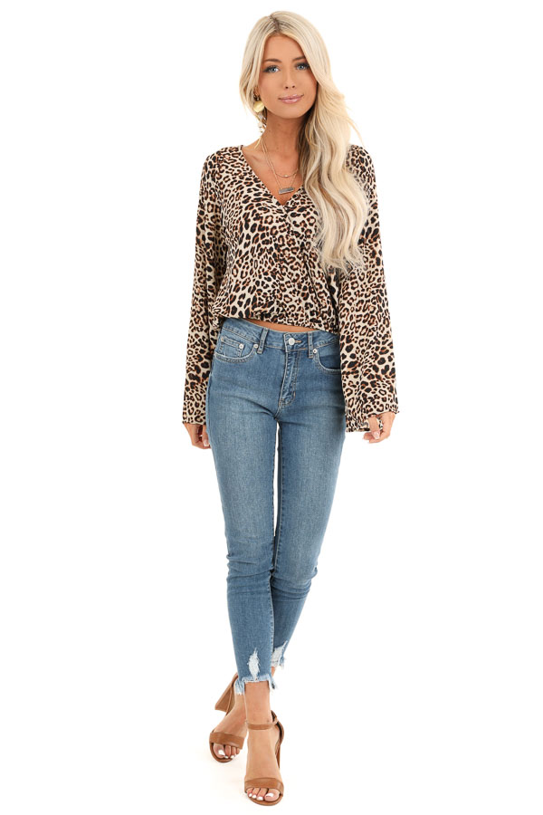 Beige Cheetah Print Surplice Top with Bell Sleeves front full body