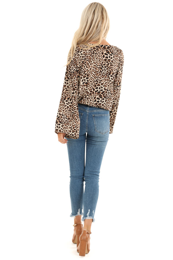 Beige Cheetah Print Surplice Top with Bell Sleeves back full body