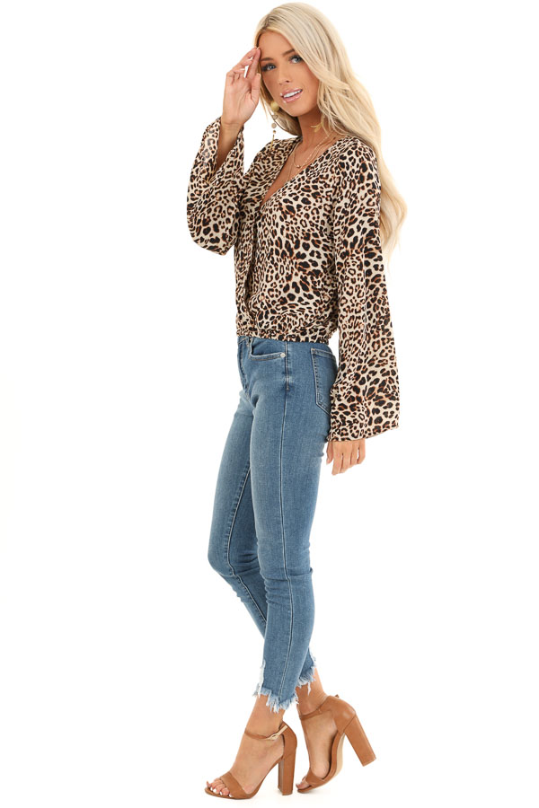 Beige Cheetah Print Surplice Top with Bell Sleeves side full body