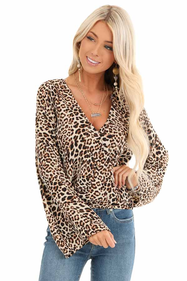 Beige Cheetah Print Surplice Top with Bell Sleeves front close up