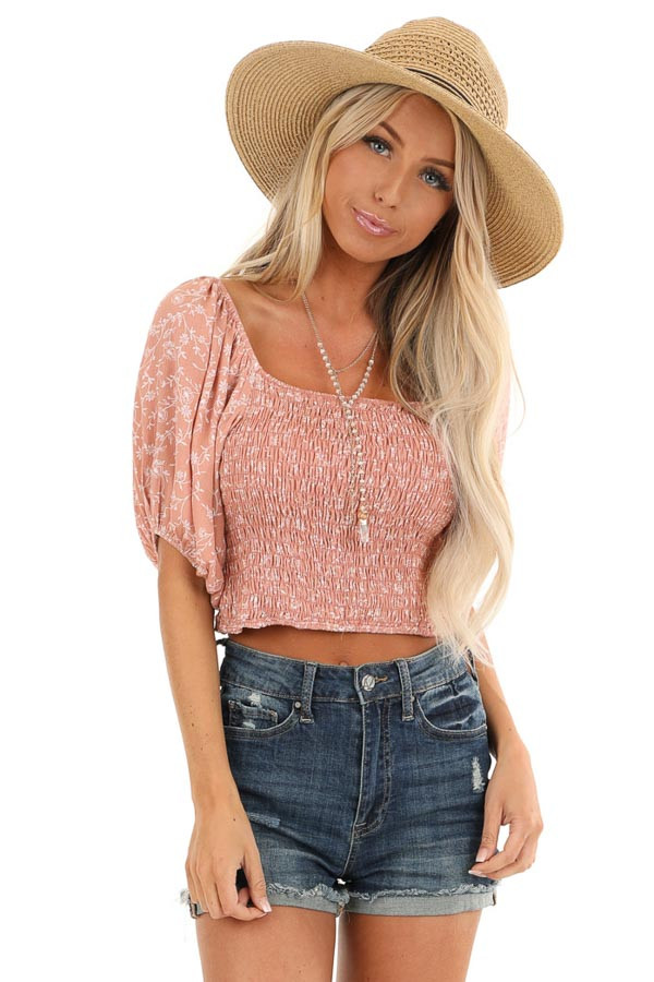 Blush Smocked Square Neck Crop Top with Puffed Sleeves front close up