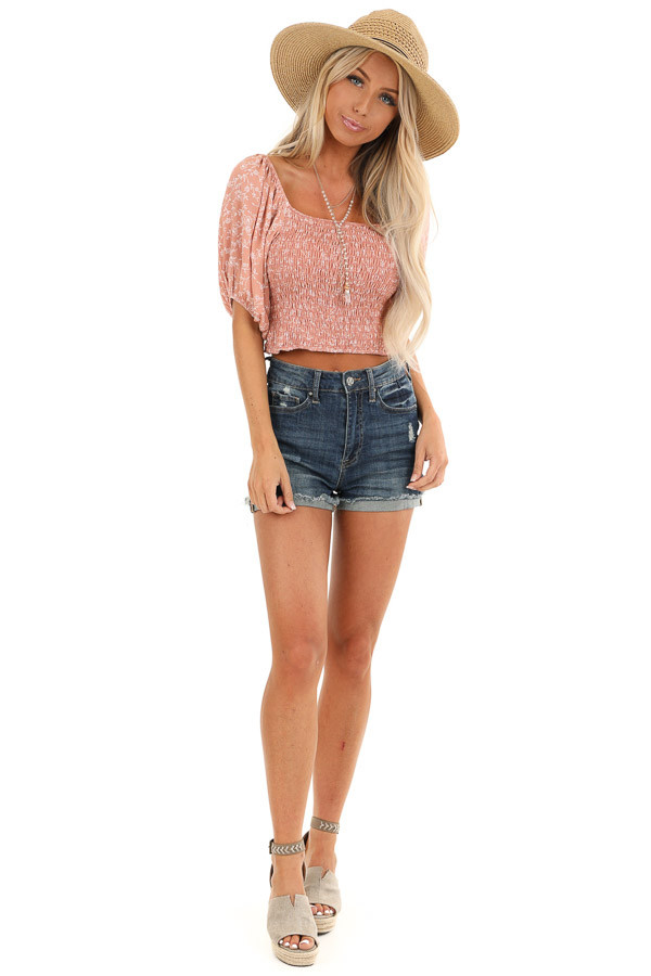 Blush Smocked Square Neck Crop Top with Puffed Sleeves front full body