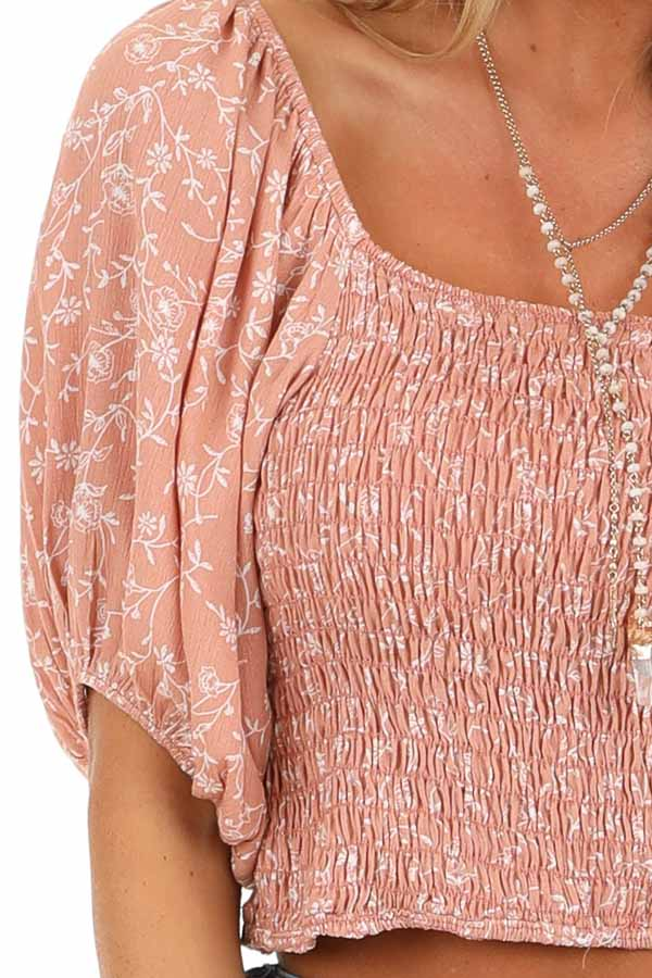 Blush Smocked Square Neck Crop Top with Puffed Sleeves detail