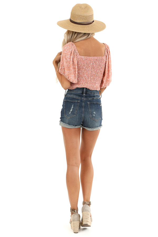 Blush Smocked Square Neck Crop Top with Puffed Sleeves back full body