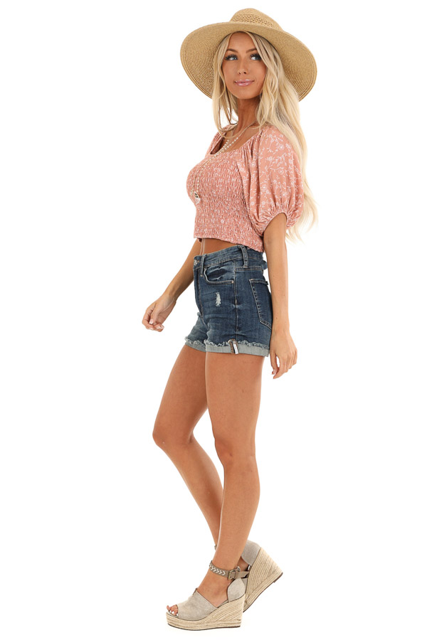 Blush Smocked Square Neck Crop Top with Puffed Sleeves side full body