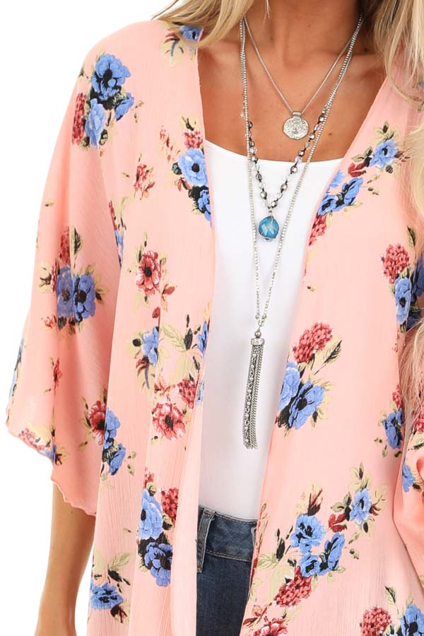 Peachy Pink Floral Print Open Front Short Sleeve Kimono detail