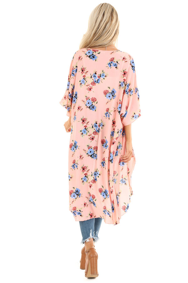 Peachy Pink Floral Print Open Front Short Sleeve Kimono back full body