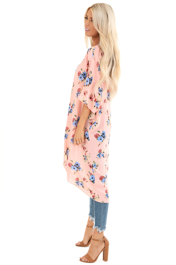 Peachy Pink Floral Print Open Front Short Sleeve Kimono side full body