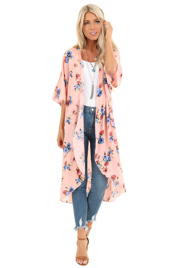 Peachy Pink Floral Print Open Front Short Sleeve Kimono front full body