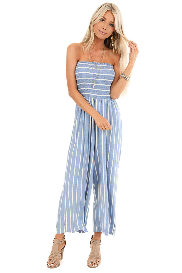 Steel Blue and Off White Striped Strapless Jumpsuit front full body