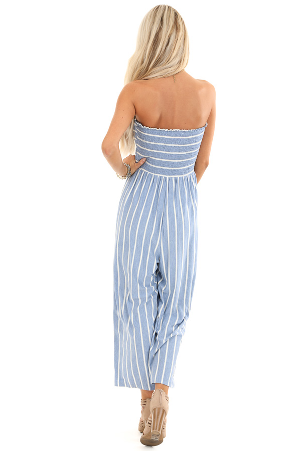 Steel Blue and Off White Striped Strapless Jumpsuit back full body