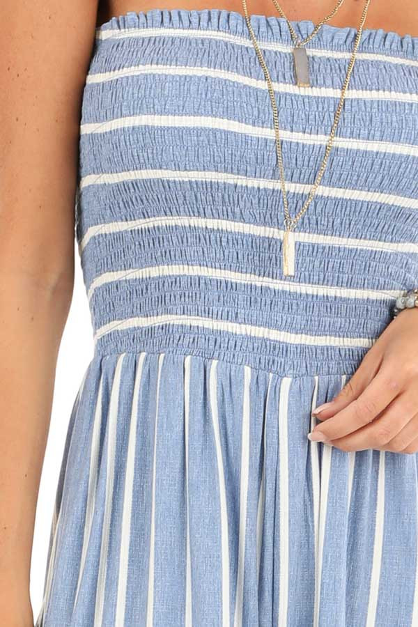 Steel Blue and Off White Striped Strapless Jumpsuit detail