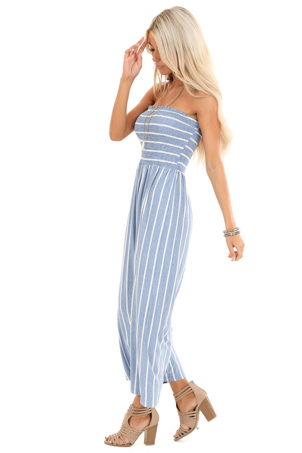 Steel Blue and Off White Striped Strapless Jumpsuit side full body