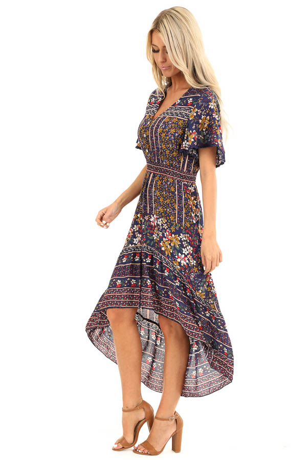 Navy Floral Print High Low Midi Dress with Button Details side full body