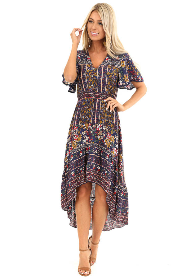 Navy Floral Print High Low Midi Dress with Button Details front full body