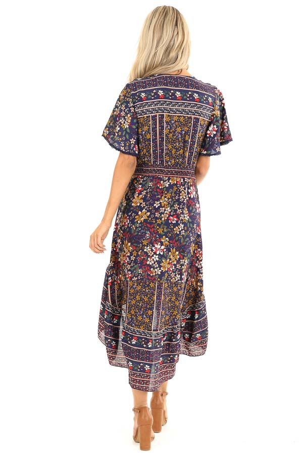 Navy Floral Print High Low Midi Dress with Button Details back full body