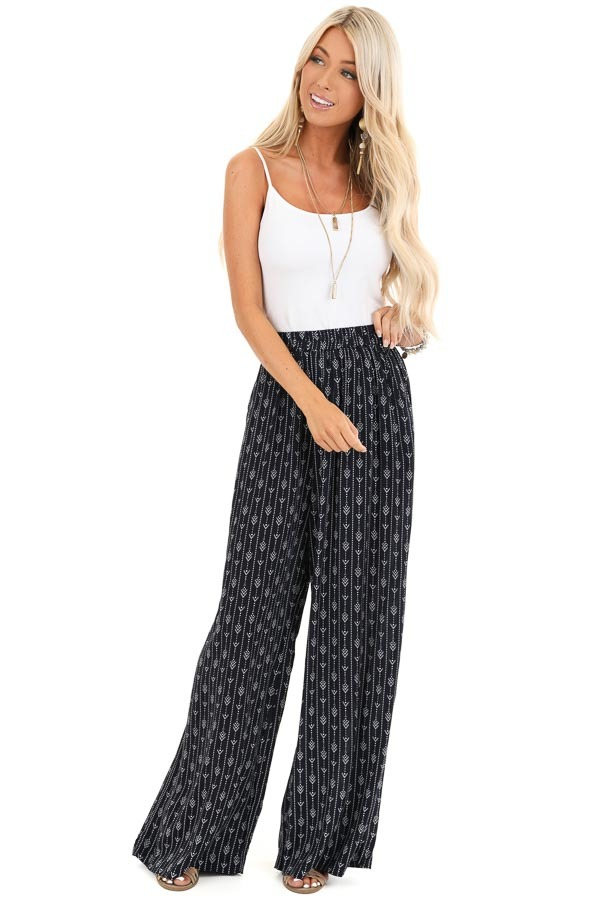 Navy Abstract Print Wide Leg Pants with Pockets front full body