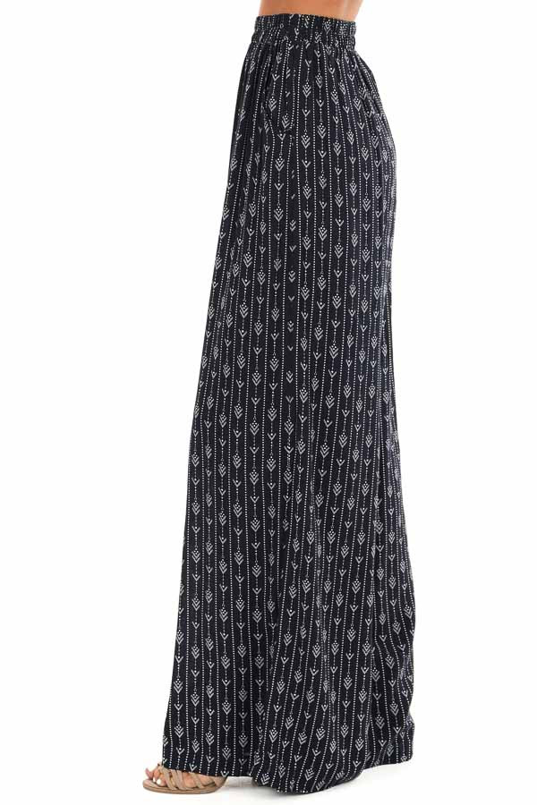 Navy Abstract Print Wide Leg Pants with Pockets side view
