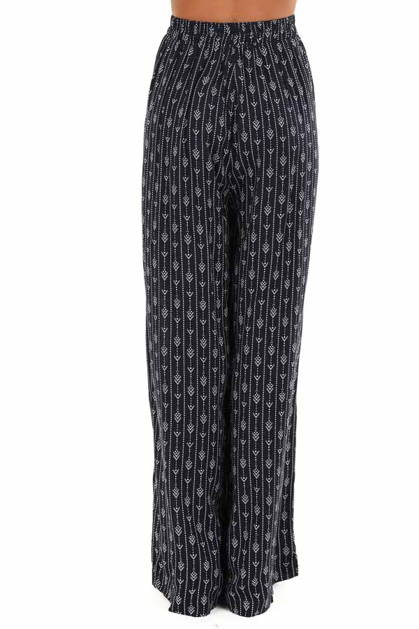 Navy Abstract Print Wide Leg Pants with Pockets back view