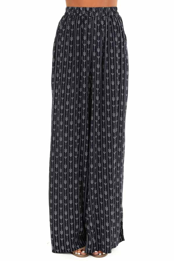 Navy Abstract Print Wide Leg Pants with Pockets front view