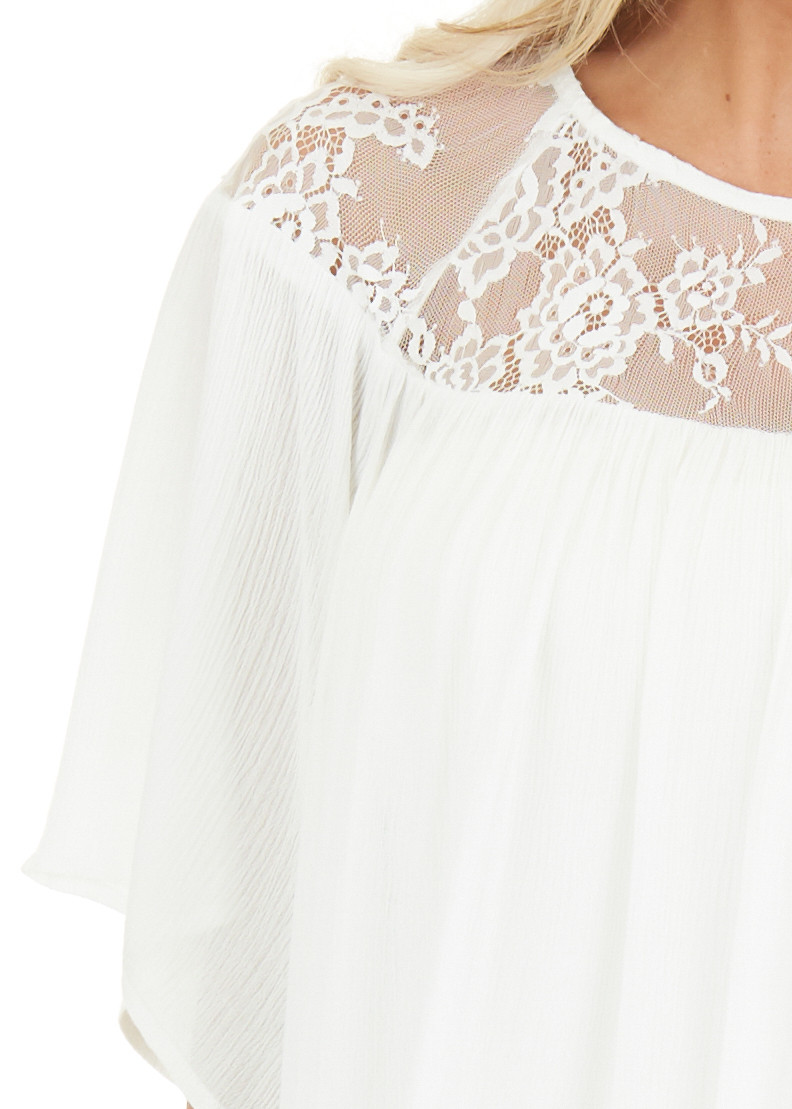 Off White Short Sleeve Top with Lace Neckline and Buttons detail