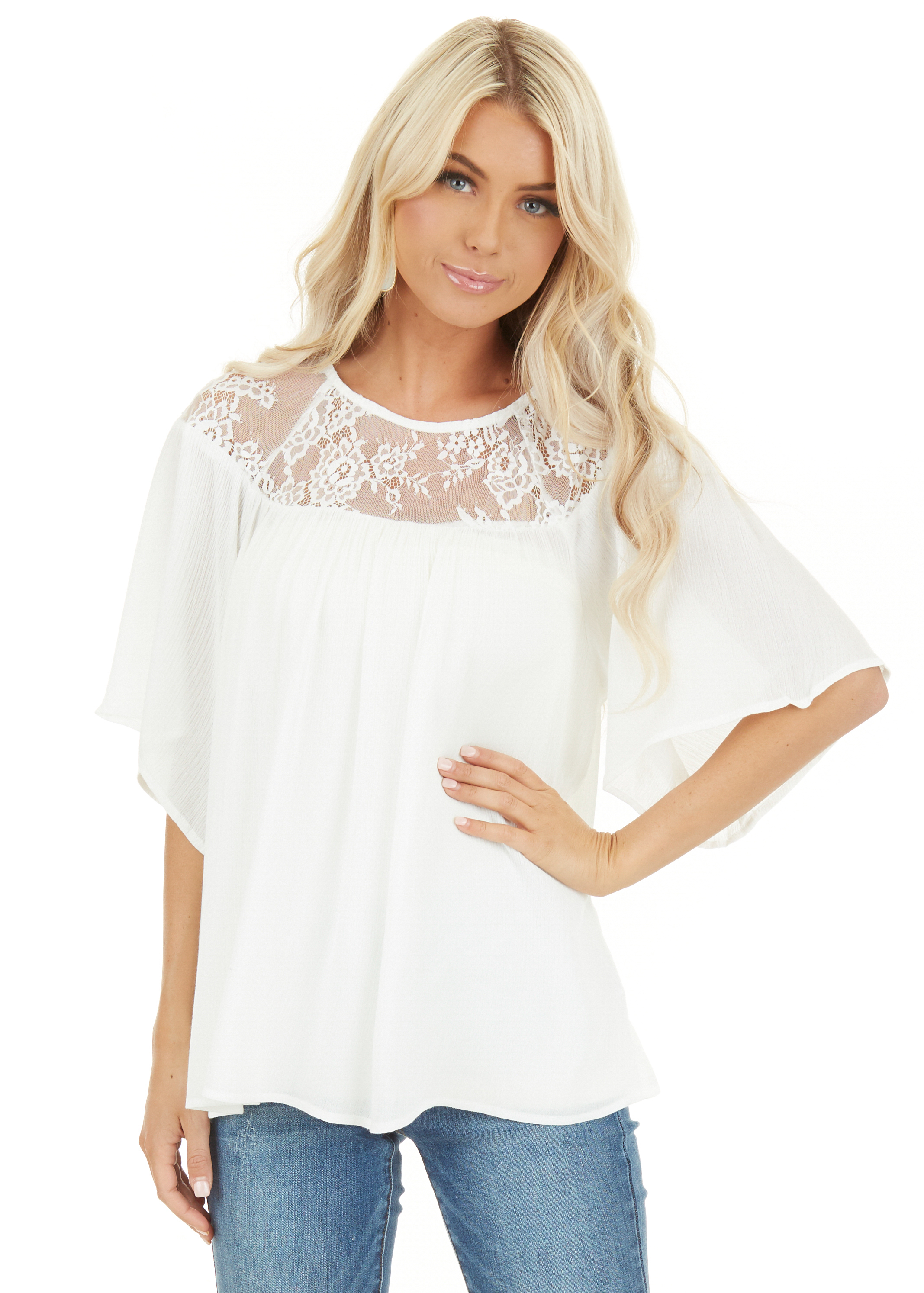 Off White Short Sleeve Top with Lace Neckline and Buttons closeup
