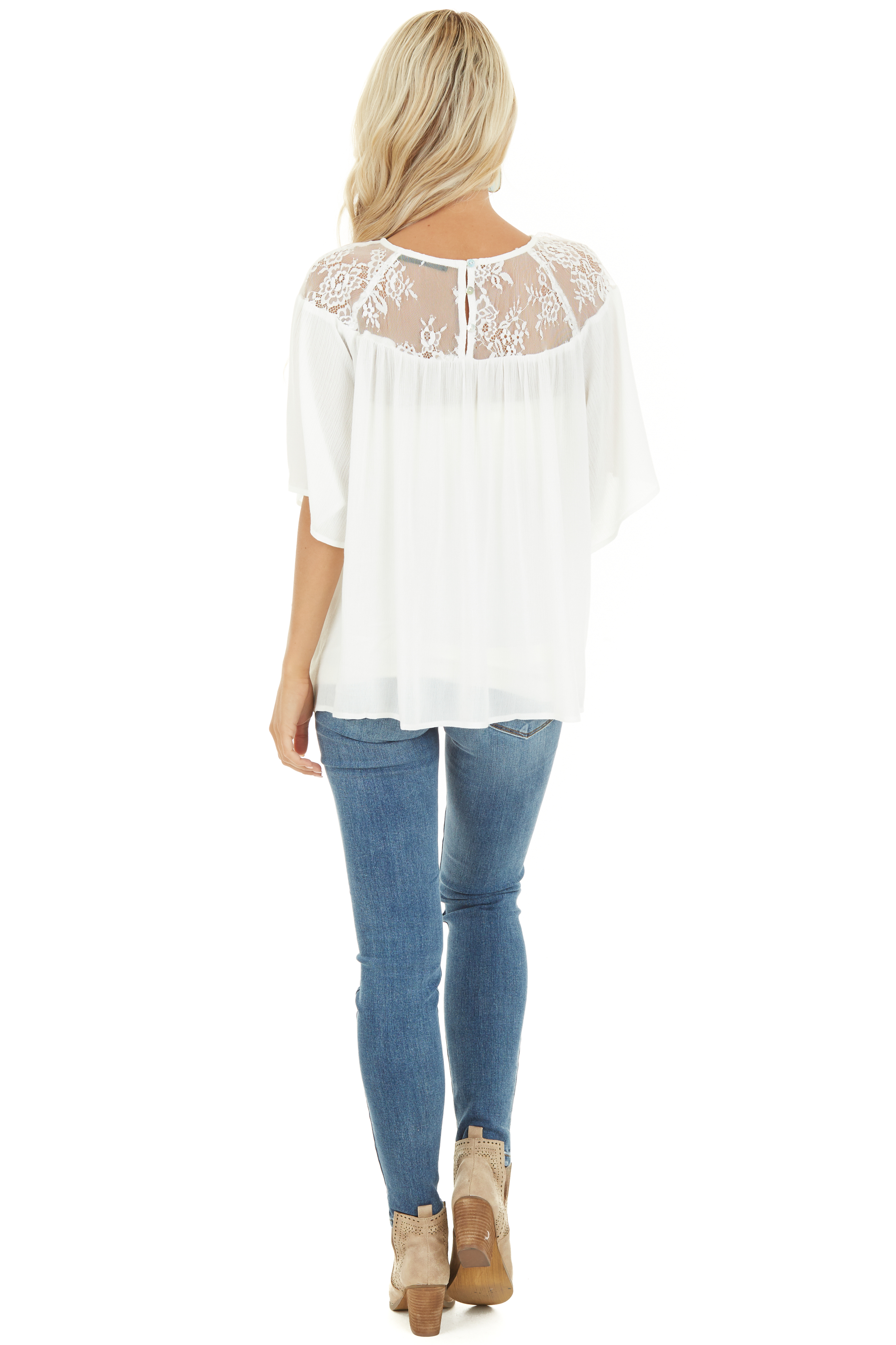 Off White Short Sleeve Top with Lace Neckline and Buttons back full body