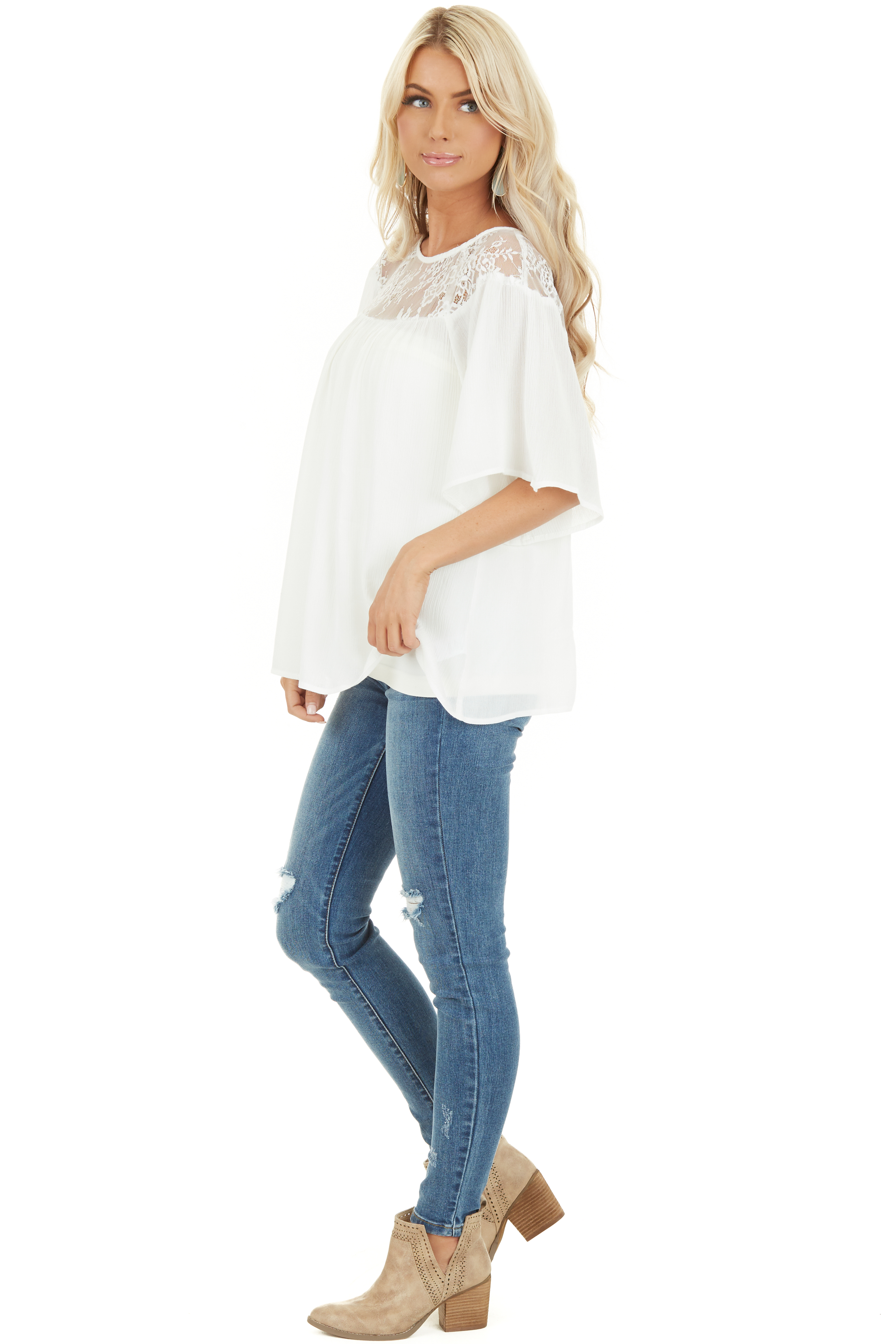 Off White Short Sleeve Top with Lace Neckline and Buttons side full body