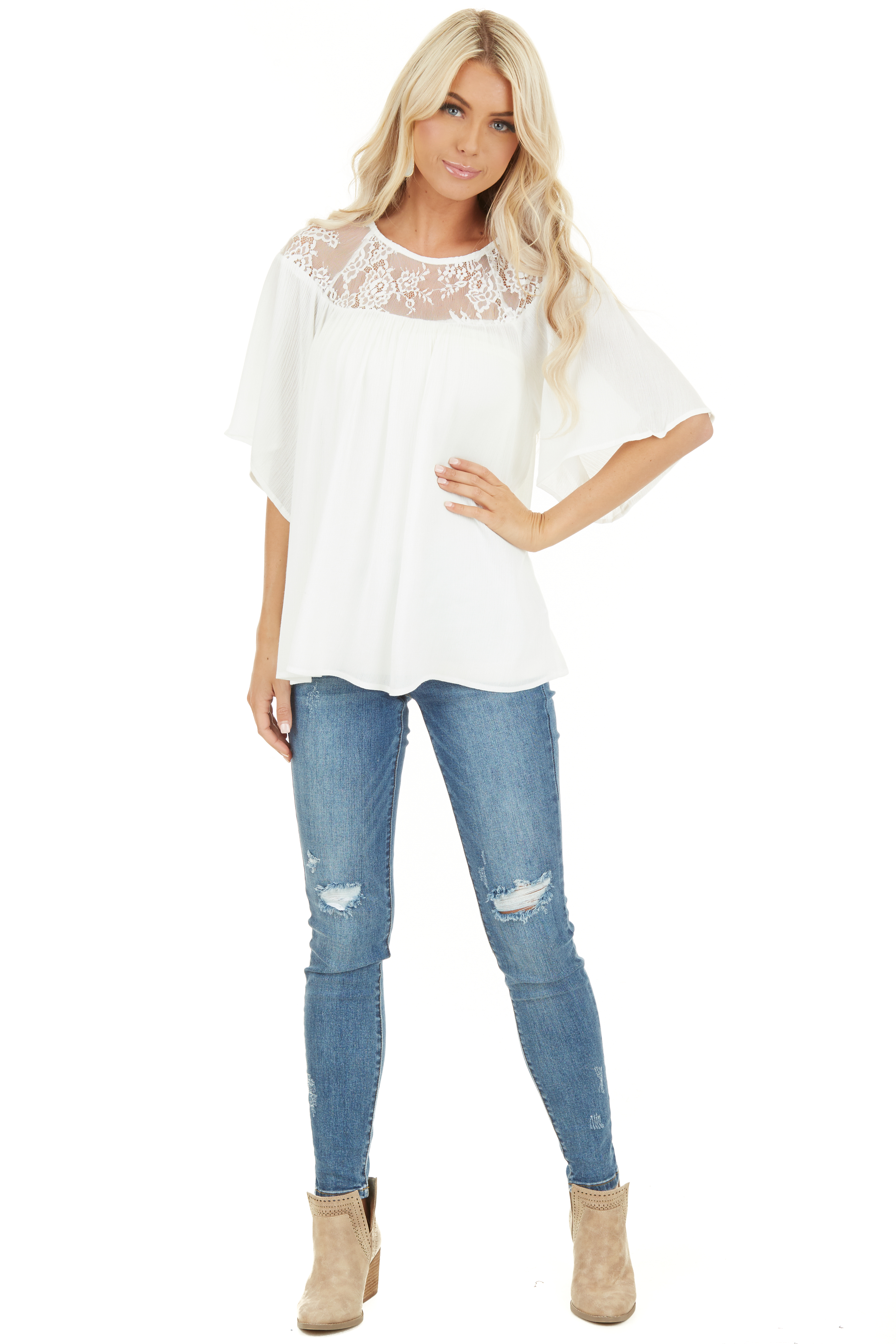 Off White Short Sleeve Top with Lace Neckline and Buttons front full body