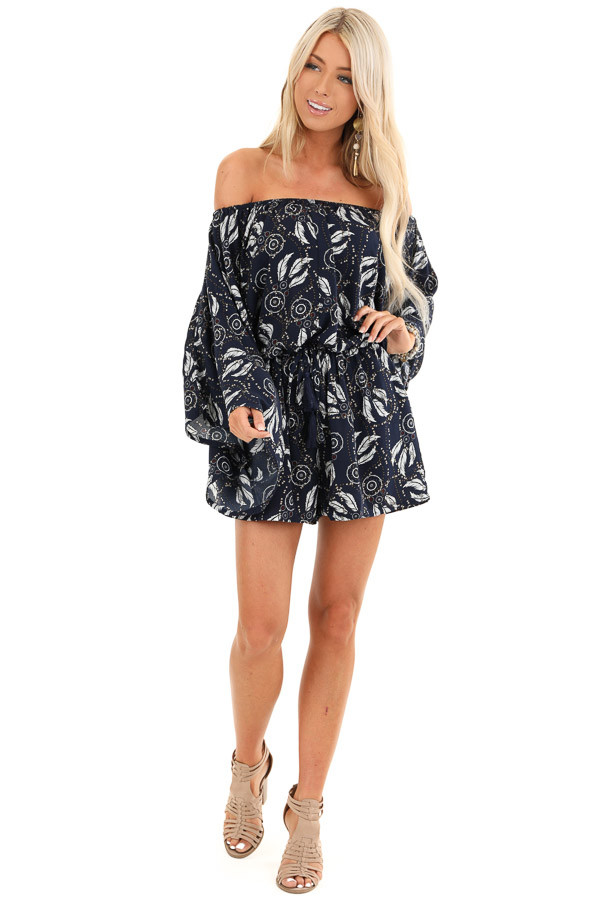 Deep Navy Feather Print Boho Off the Shoulder Romper front full body