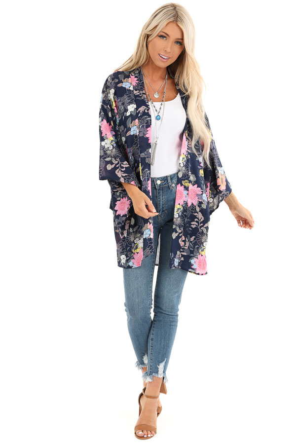 Navy Floral Print Semi Sheer Open Front 3/4 Sleeve Kimono front full body