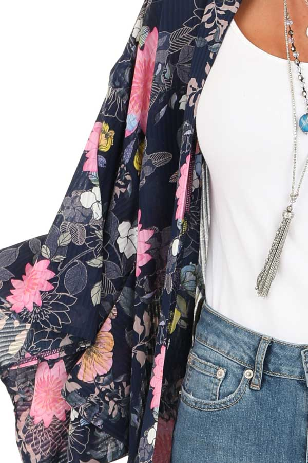 Navy Floral Print Semi Sheer Open Front 3/4 Sleeve Kimono detail
