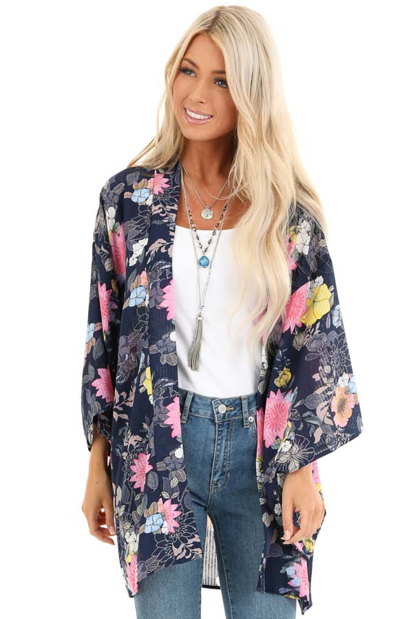 Navy Floral Print Semi Sheer Open Front 3/4 Sleeve Kimono front close up