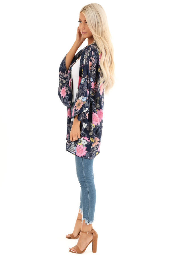 Navy Floral Print Semi Sheer Open Front 3/4 Sleeve Kimono side full body