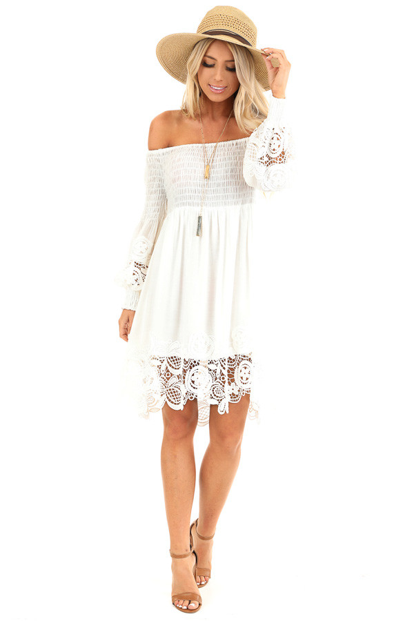 Ivory Off Shoulder Smocked Mini Dress with Crochet Detail front full body