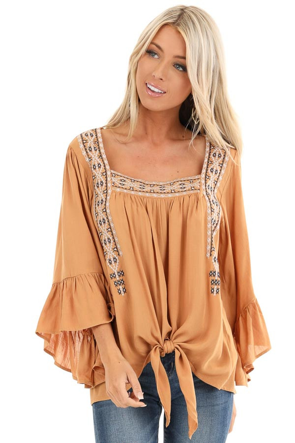 Caramel Top with 3/4 Bell Sleeves and Embroidered Details front close up