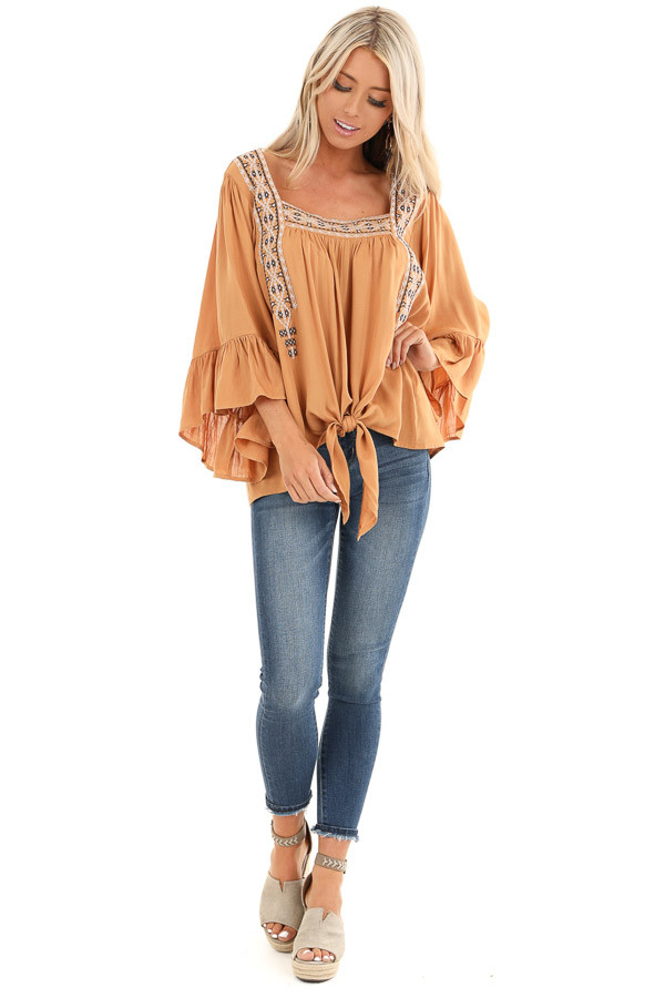 Caramel Top with 3/4 Bell Sleeves and Embroidered Details front full body
