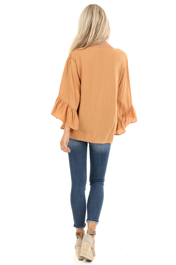 Caramel Top with 3/4 Bell Sleeves and Embroidered Details back full body