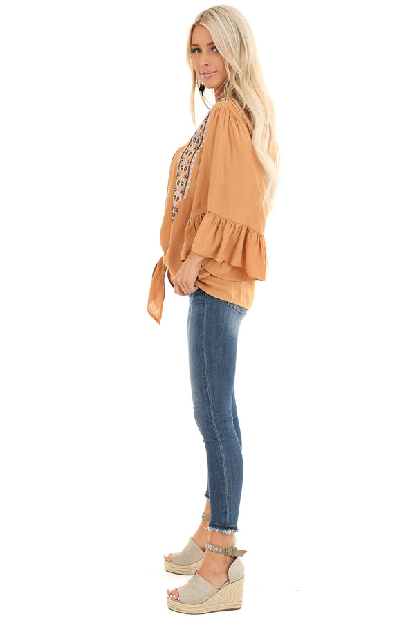 Caramel Top with 3/4 Bell Sleeves and Embroidered Details side full body