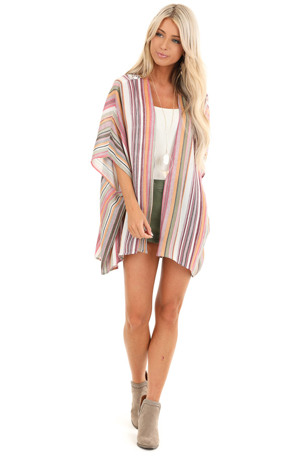 Coral and Maroon Striped Open Front Kimono with Lace Detail front full body
