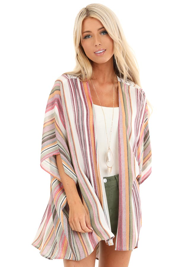 Coral and Maroon Striped Open Front Kimono with Lace Detail front close up