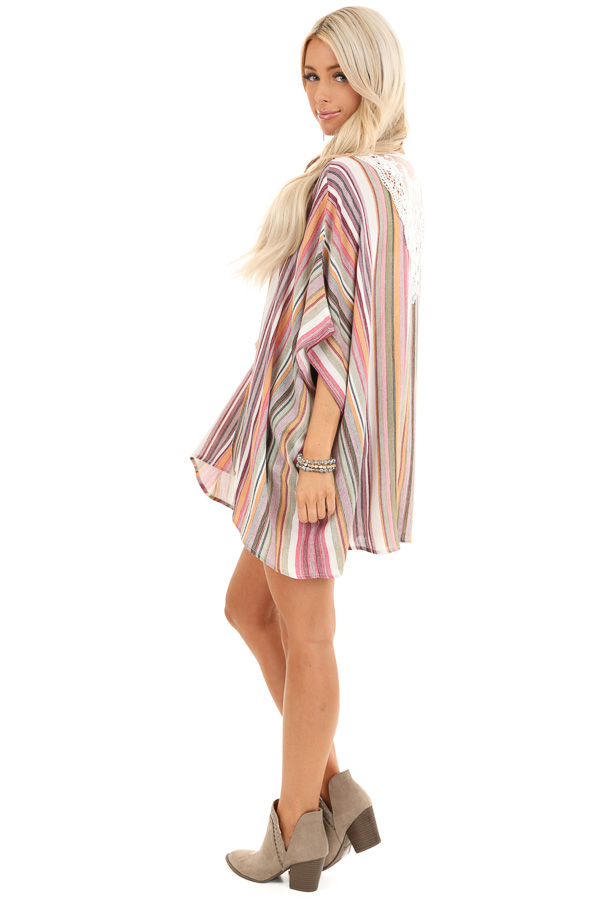 Coral and Maroon Striped Open Front Kimono with Lace Detail side full body