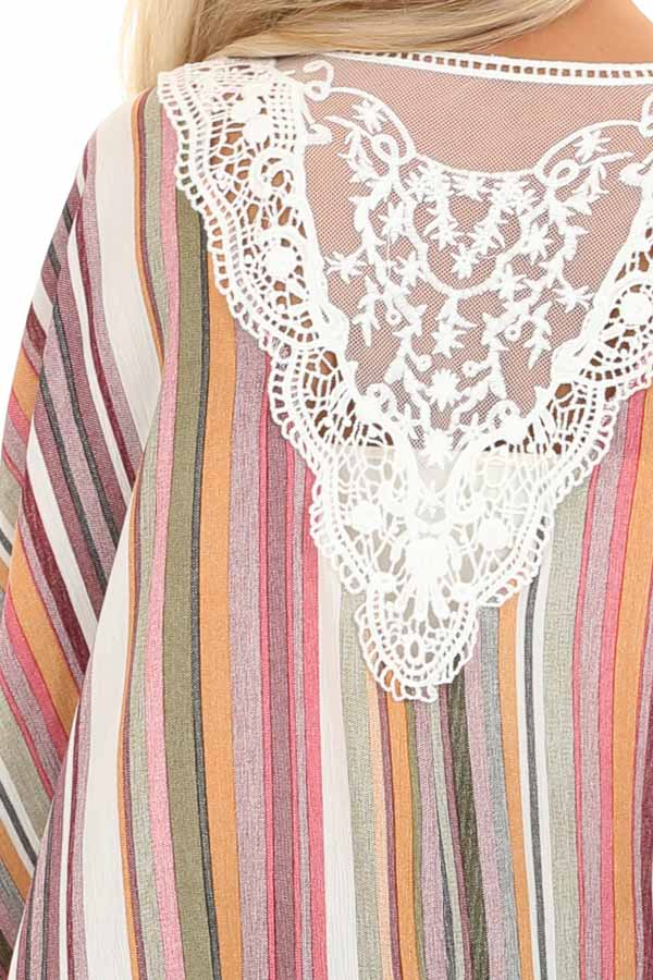 Coral and Maroon Striped Open Front Kimono with Lace Detail detail