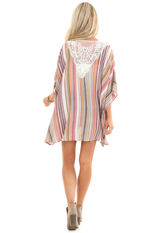 Coral and Maroon Striped Open Front Kimono with Lace Detail back full body