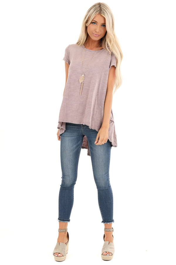 Antique Mauve Short Sleeve Top with High Low Hemline front full body