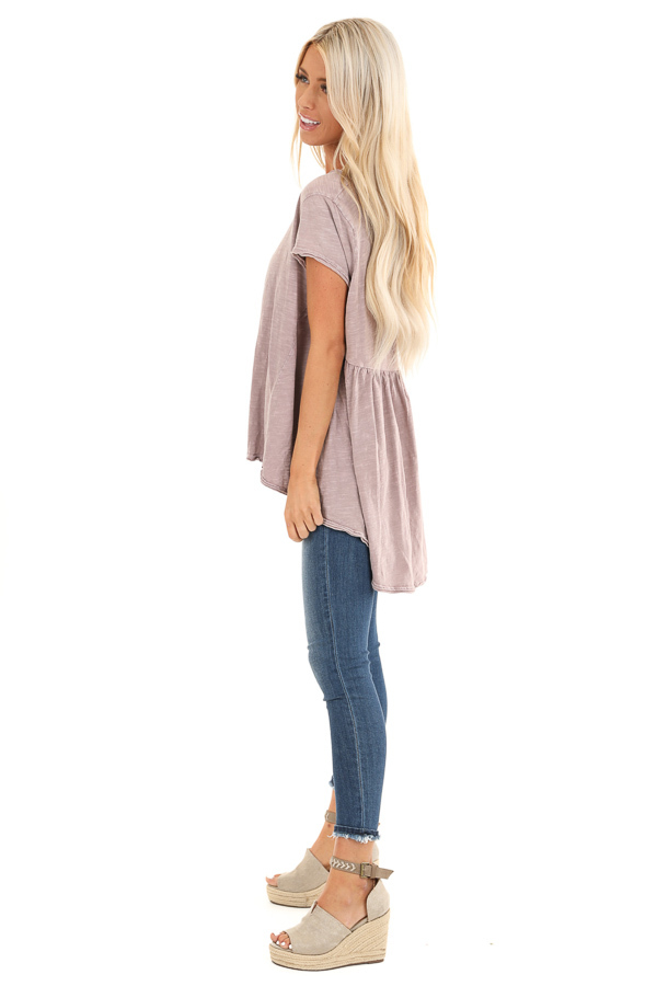 Antique Mauve Short Sleeve Top with High Low Hemline side full body