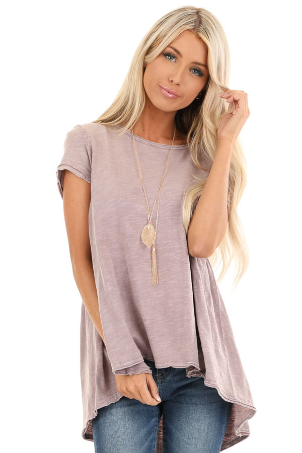 Antique Mauve Short Sleeve Top with High Low Hemline front close up