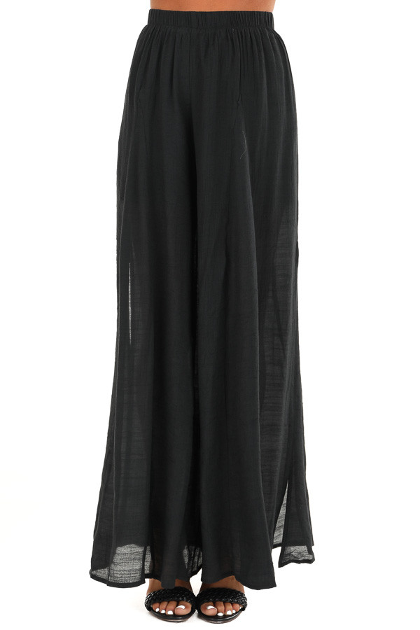 Midnight Black Wide Leg Pants with High Side Slits front view