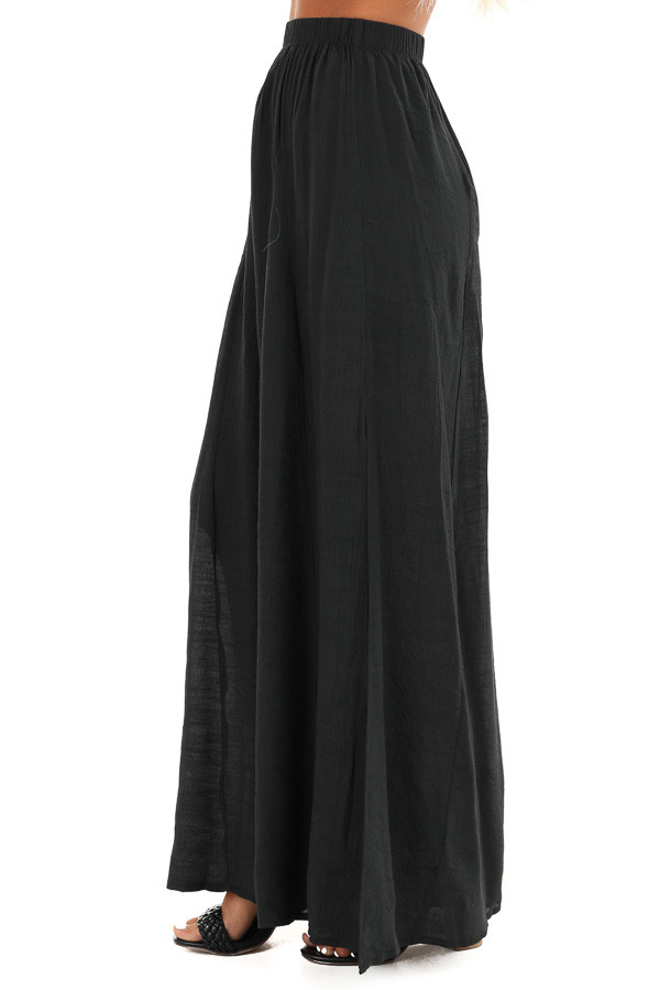 Midnight Black Wide Leg Pants with High Side Slits side view