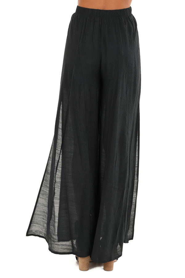 Midnight Black Wide Leg Pants with High Side Slits back view